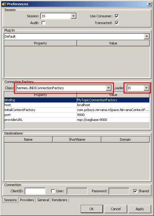 Configure session in HermesJMS