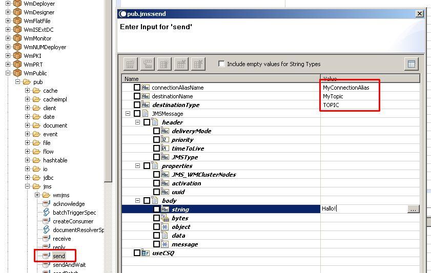 Send a JMS test message with Integration Server