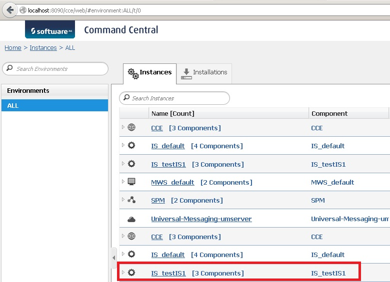 The newly created Integration Server instance in Command Central