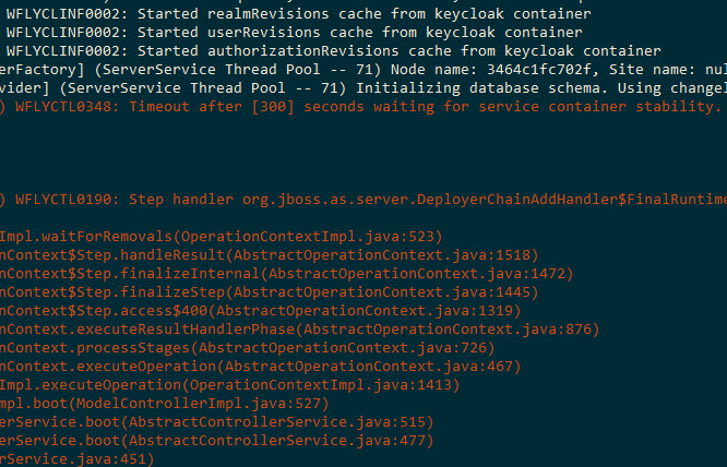 WFLYCTL0348 TimeoutException while running Keycloak in a Docker container with an external database (MariaDB)